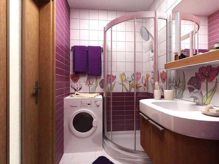 пример необычного стиля ванной в хрущевке