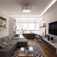 вариант светлого дизайна гостиной комнаты с эркером фото