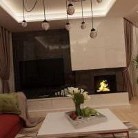 пример необычного дизайна гостиной комнаты с камином картинка