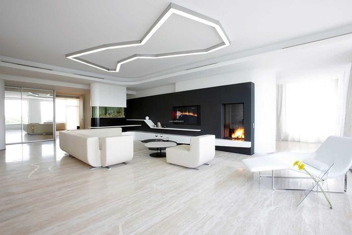 пример яркого интерьера гостиной в стиле минимализм