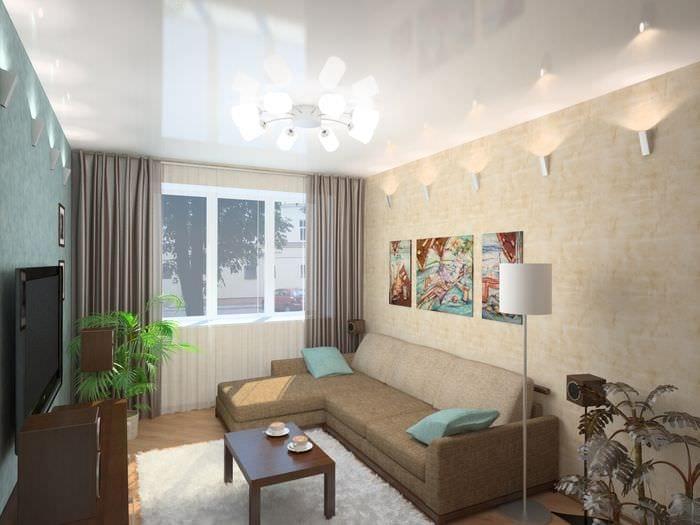 вариант необычного интерьера гостиной 16 кв.м