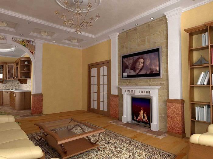 вариант светлого интерьера гостиной 25 кв.м
