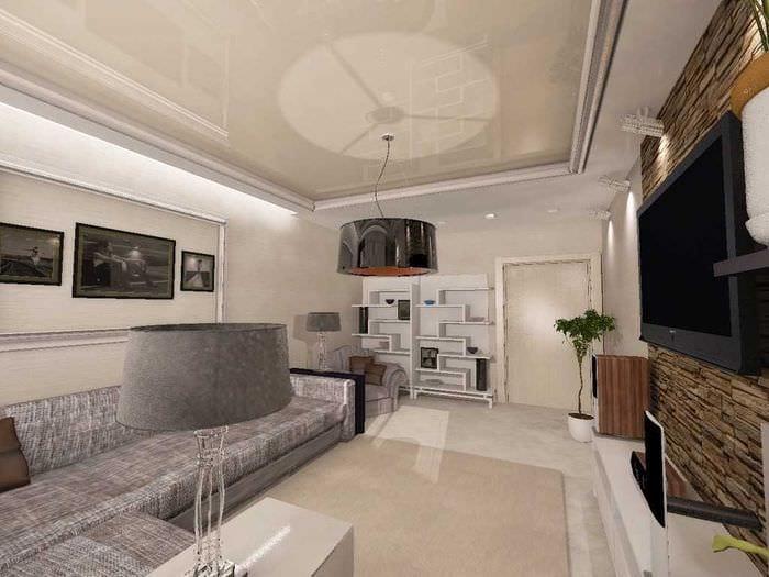 вариант светлого интерьера гостиной комнаты 25 кв.м