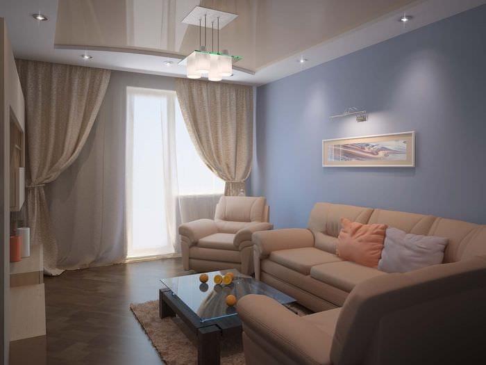 пример красивого стиля гостиной комнаты 16 кв.м