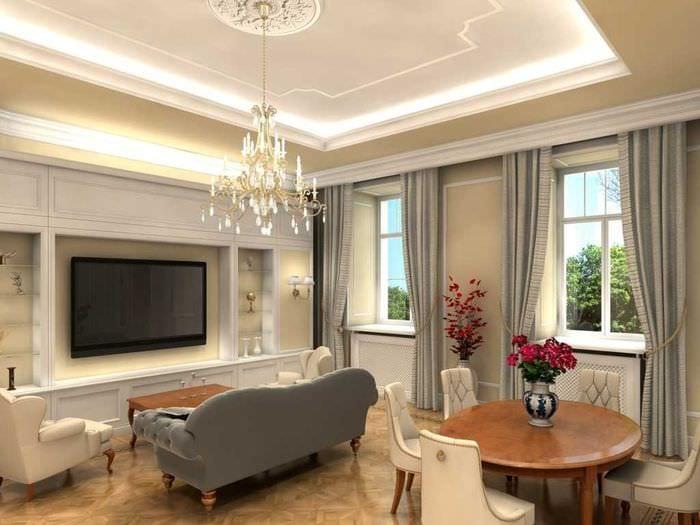 вариант красивого дизайна гостиной комнаты 2018