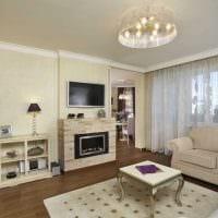 пример необычного дизайна гостиной комнаты с камином фото