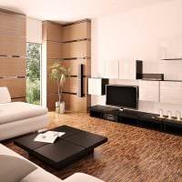 пример светлого дизайна гостиной в стиле минимализм фото