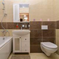 вариант светлого стиля ванной комнаты в бежевом цвете фото