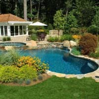 вариант красивого ландшафтного дизайна частного двора фото