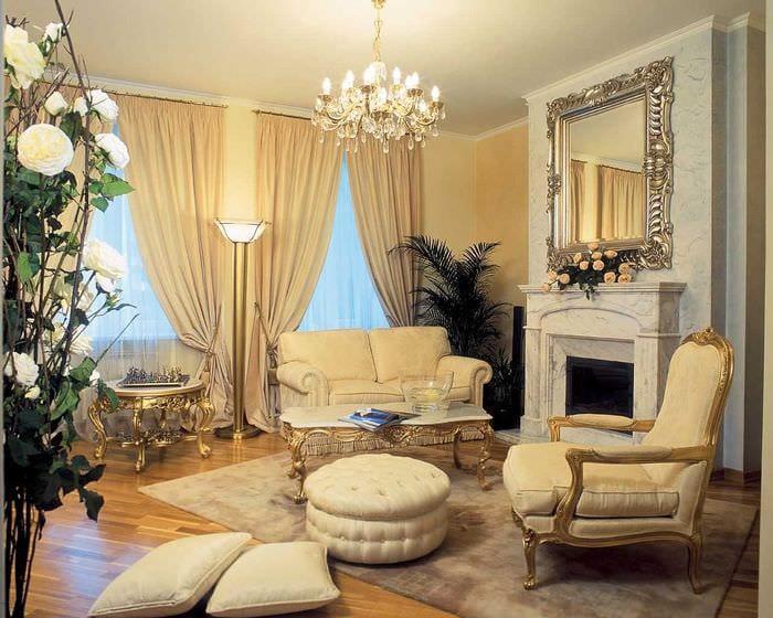 пример яркого стиля гостиной 2018
