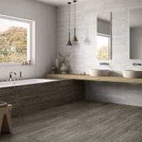 вариант красивого стиля ванной комнаты в бежевом цвете картинка