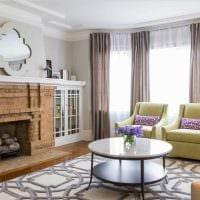 вариант красивого декора гостиной комнаты с эркером картинка