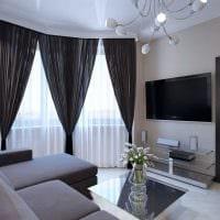 пример необычного интерьера гостиной с эркером фото