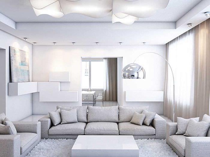 вариант необычного декора гостиной комнаты в стиле минимализм