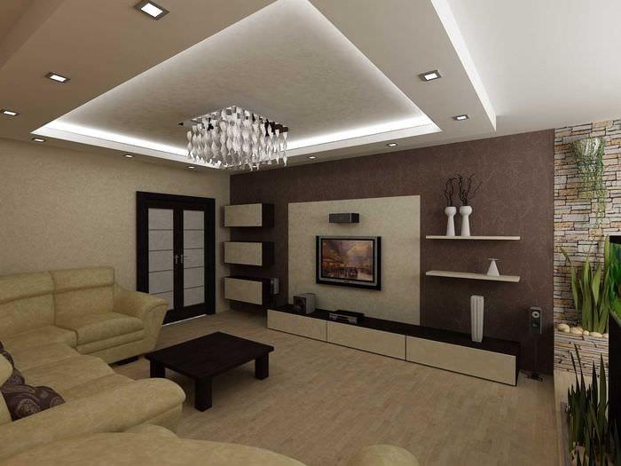пример светлого стиля гостиной 19-20 кв.м