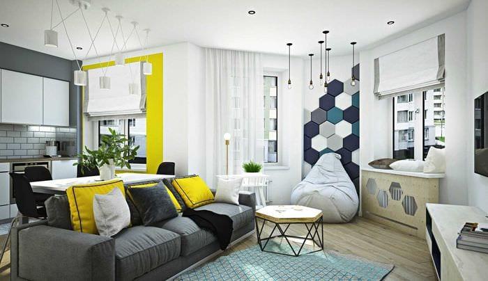 пример красивого декора гостиной комнаты с эркером