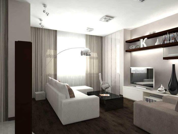пример светлого дизайна гостиной комнаты в стиле минимализм