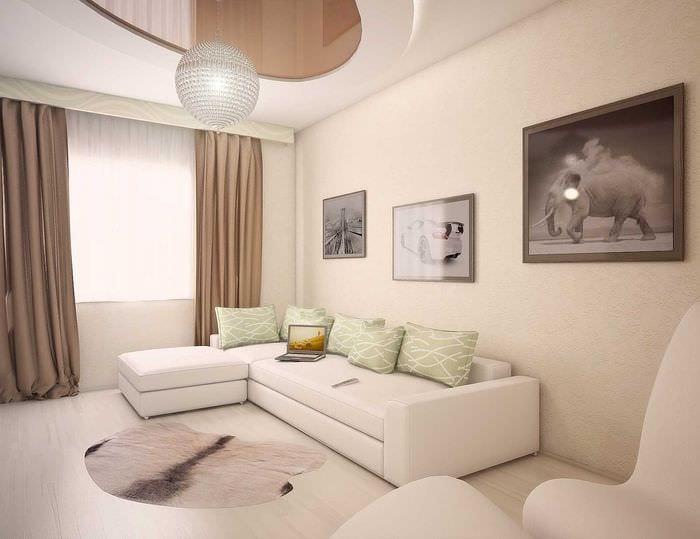вариант яркого дизайна квартиры 70 кв.м
