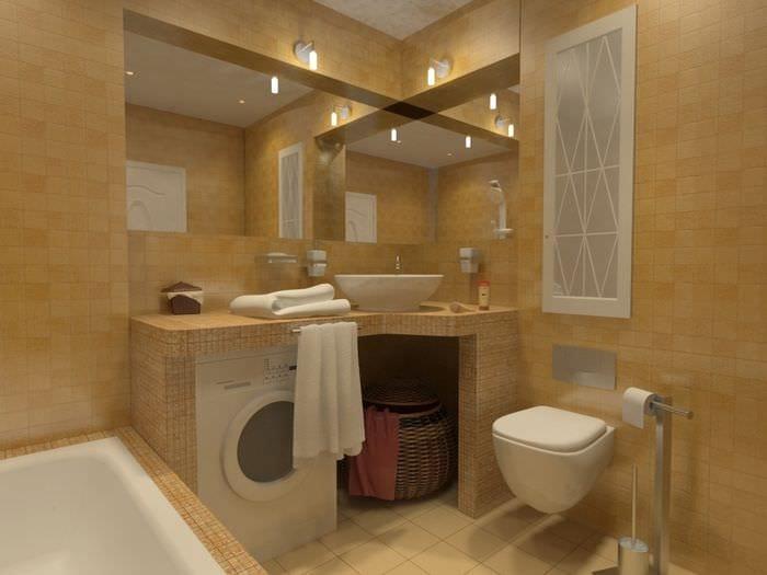 пример яркого интерьера ванной комнаты 5 кв.м
