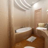 пример необычного стиля ванной в бежевом цвете картинка