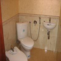 вариант яркого дизайна ванной комнаты в бежевом цвете фото
