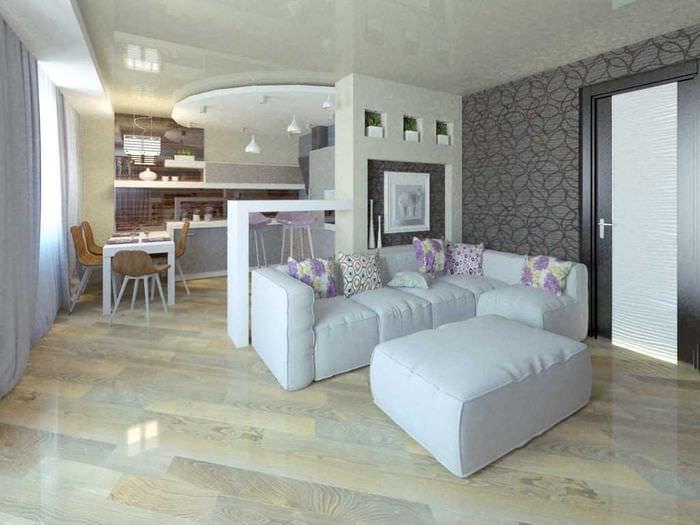 пример яркого дизайна гостиной комнаты 25 кв.м