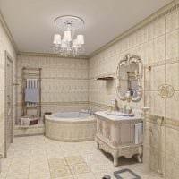 вариант необычного интерьера ванной комнаты в бежевом цвете фото