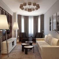 пример красивого декора гостиной комнаты с эркером фото