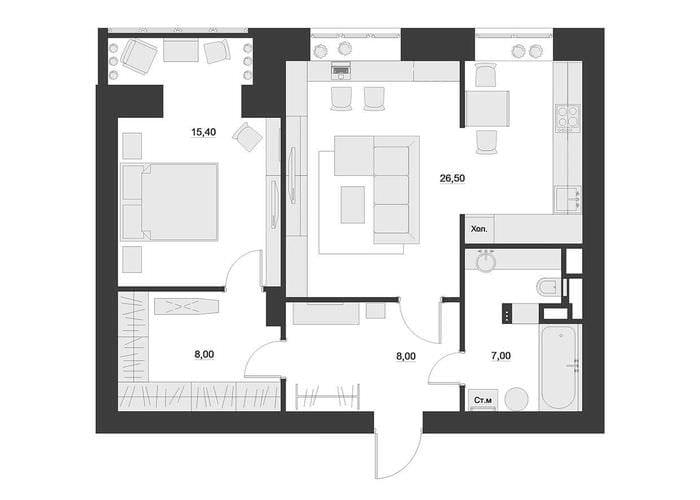 вариант красивого декора современной квартиры 65 кв.м