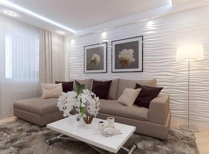 пример светлого интерьера гостиной 19-20 кв.м