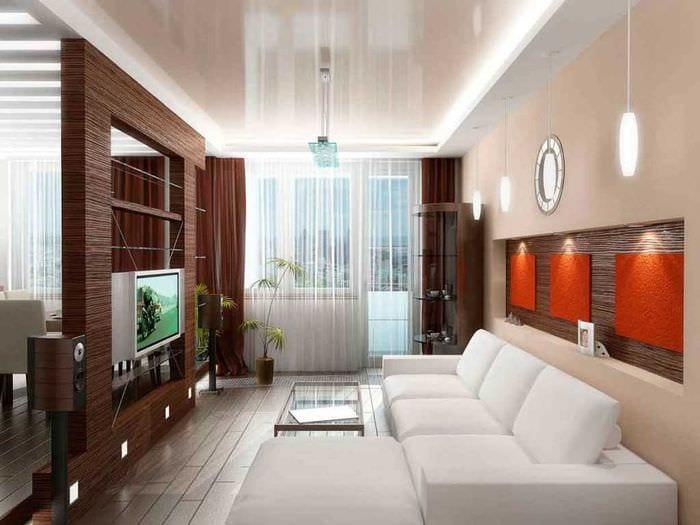 вариант яркого дизайна гостиной комнаты 2018