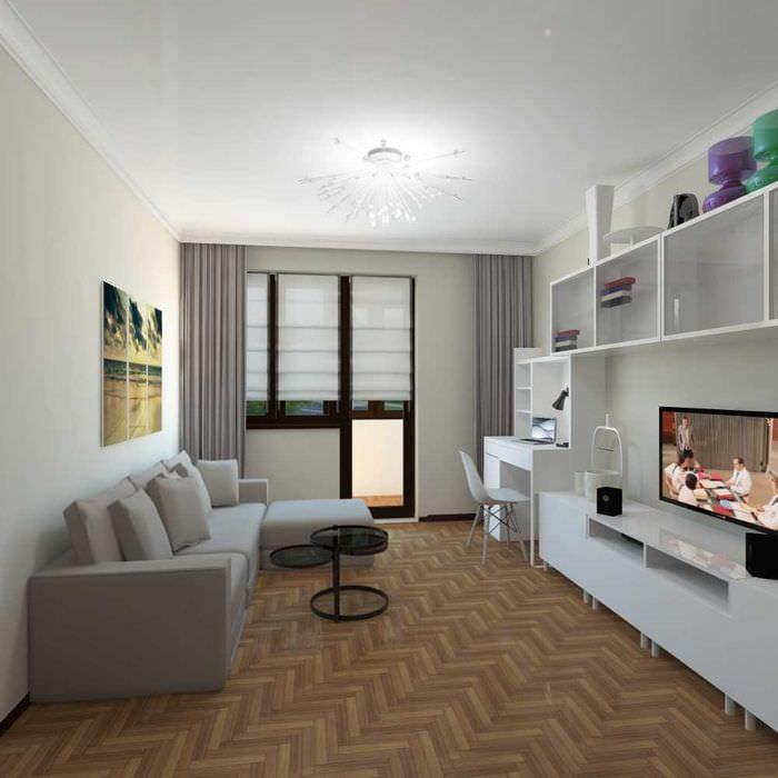вариант яркого интерьера современной квартиры 50 кв.м