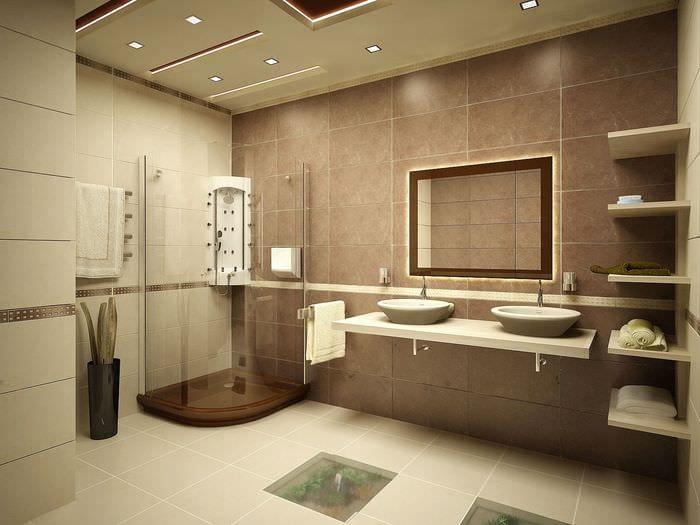 вариант яркого дизайна ванной комнаты в бежевом цвете