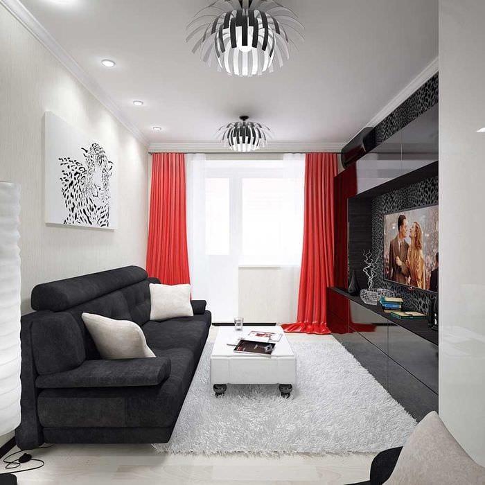 вариант светлого интерьера гостиной комнаты 16 кв.м