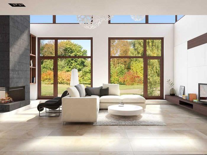 пример необычного интерьера гостиной комнаты в стиле минимализм
