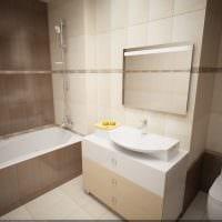 пример необычного стиля ванной комнаты в бежевом цвете фото