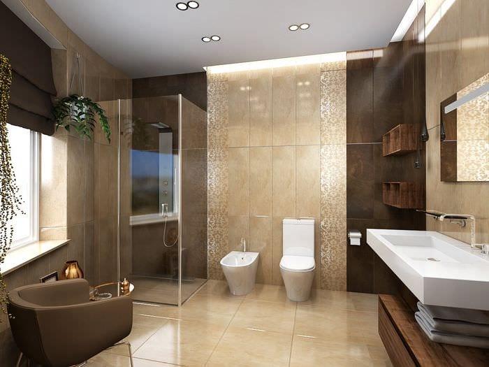 вариант необычного дизайна ванной комнаты в бежевом цвете