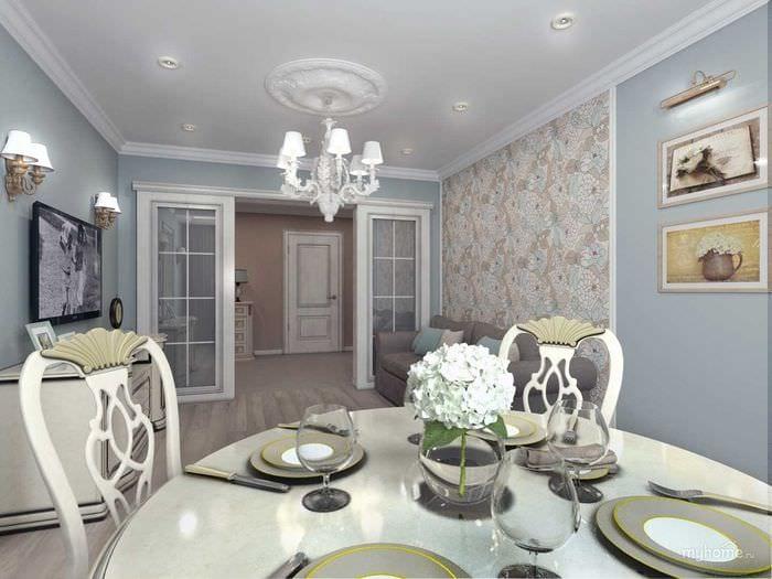 вариант необычного интерьера квартиры в стиле современная классика