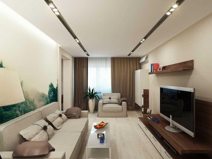 идея красивого дизайна комнаты в светлых тонах в современном стиле