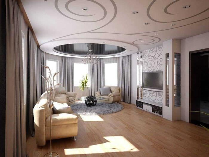 идея необычного стиля зала в частном доме