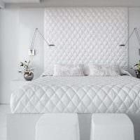 вариант красивого дизайна белой спальни фото