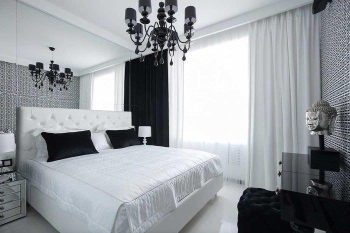 вариант красивого дизайна спальни в белом цвете