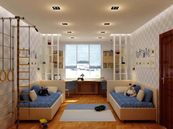 вариант яркого декора детской комнаты для двух мальчиков
