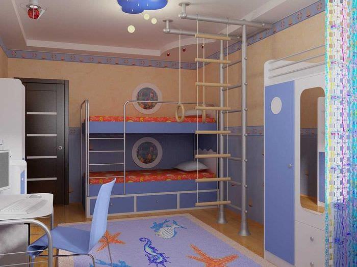 идея яркого декора детской комнаты для двух мальчиков