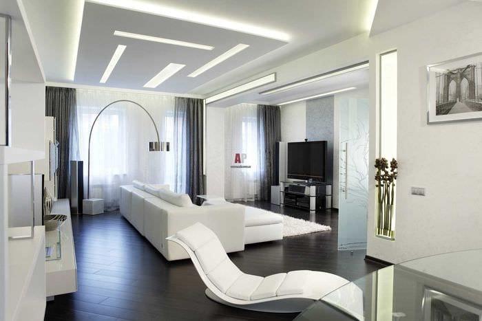 пример яркого декора гостиной комнаты в стиле минимализм