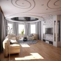 вариант необычного интерьера гостиной в частном доме картинка
