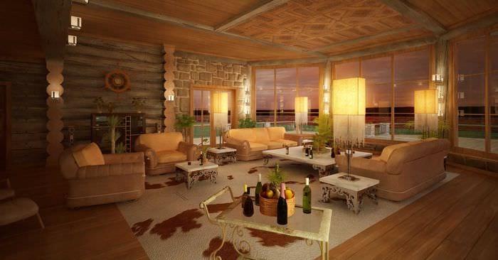 вариант яркого дизайна гостиной в частном доме