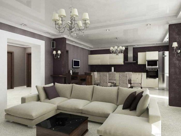 пример необычного интерьера современной квартиры 70 кв.м