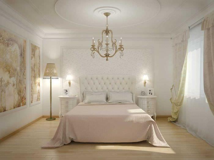 вариант необычного интерьера белой спальни