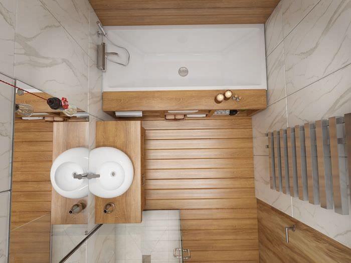вариант светлого дизайна ванной 5 кв.м